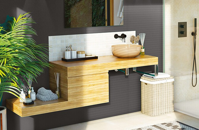 Tendances salle de bains 2021: du bois et du décalage…