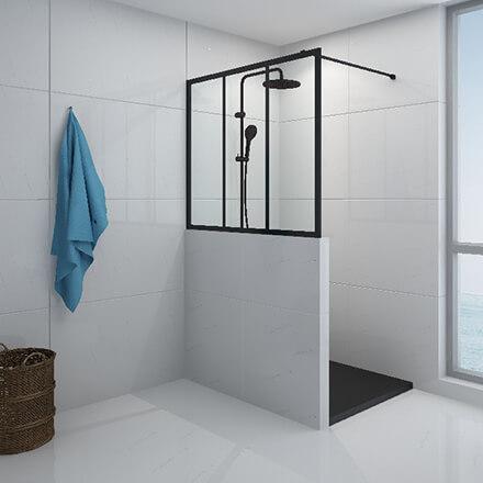 douche verrière et demi muret