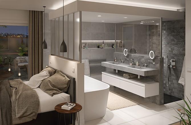 Salle de bain ouverte et muret