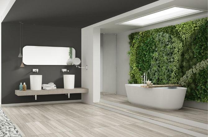 Mur végétal salle de bain