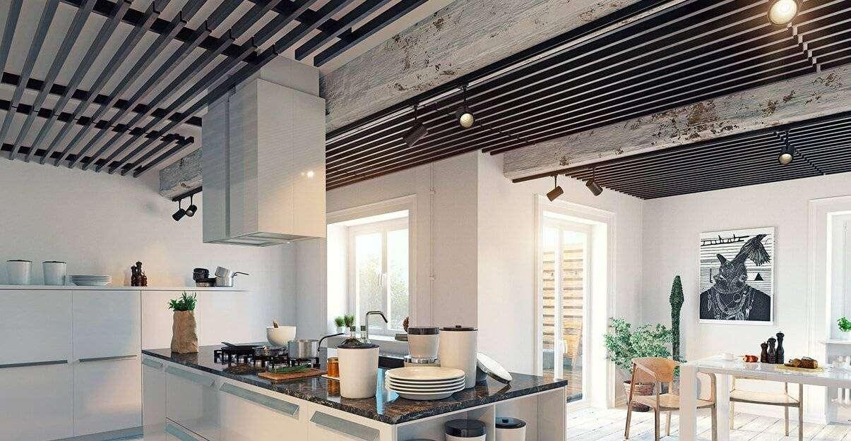 Habillez votre plafond à l'aide de poutres en bois.