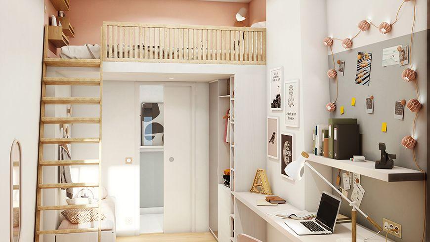 Une chambre d'adolescente avec un lit en mezzanine et un coin bureau