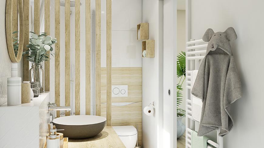 Une salle de bain scandinave