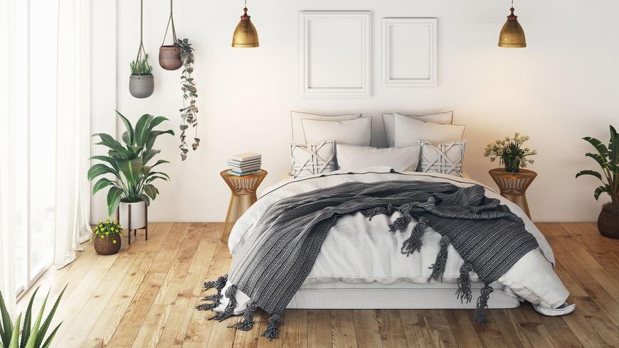 Chambre apaisante plaid gris suspensions