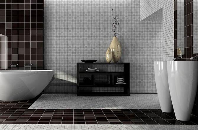 Une salle de bains contemporaine noire et blanche