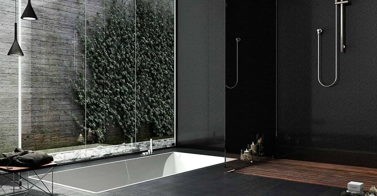 Une salle de bains contemporaine monochrome noir