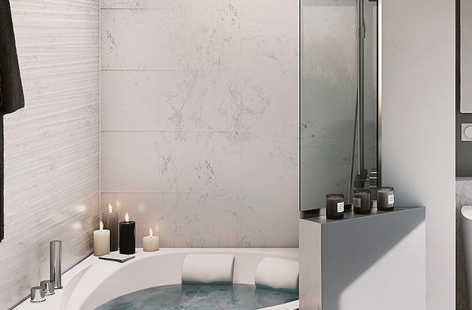 Une salle de bains contemporaine avec un seul mur marbré