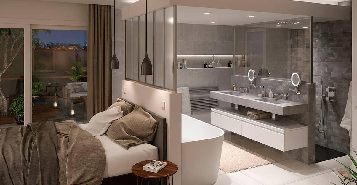 Une salle de bains contemporaine avec cloisons et parois en verre