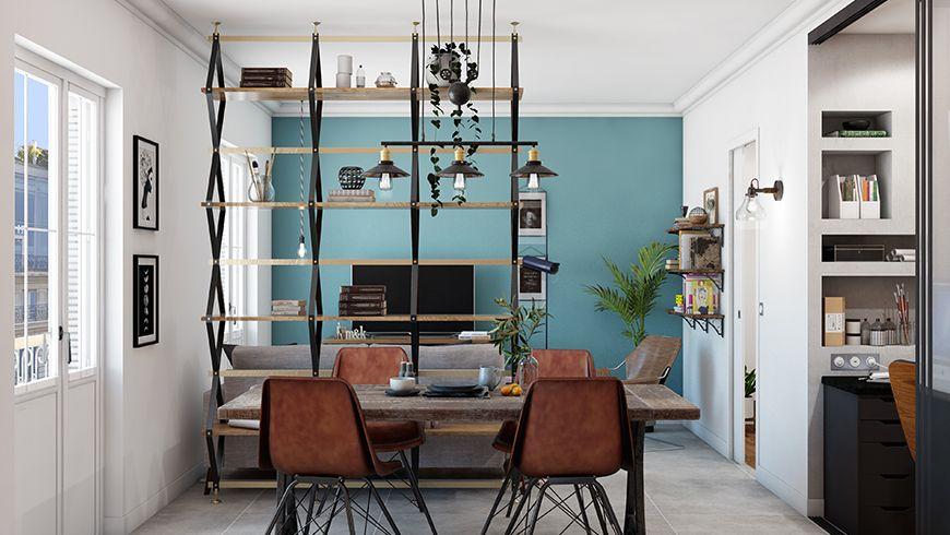 Un mur de salon peint en bleu pour plus de profondeur