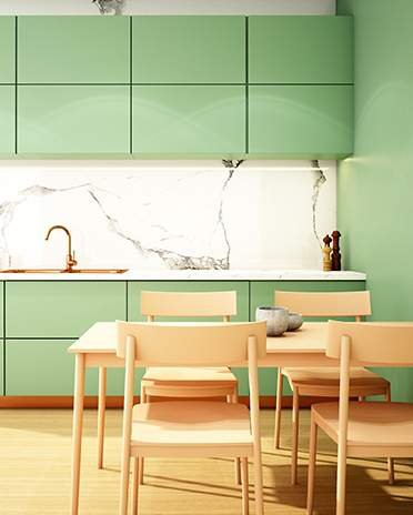cuisine verte ambiance marbre