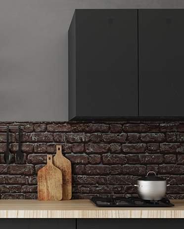 cuisine noire ambiance brique