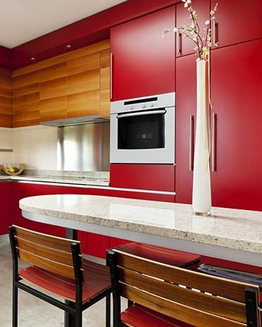 cuisine rouge ambiance pierre
