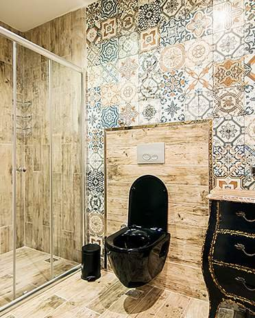 Style Campagne-chic - salle de bain carreaux ciment - La Maison Saint-Gobain