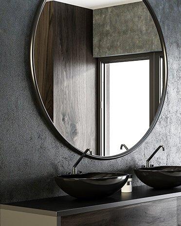 Béton décoration: crédence de salle de bain en béton