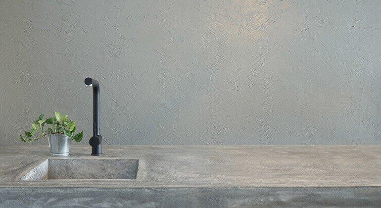 Béton décoration: évier et plan de travail intégré