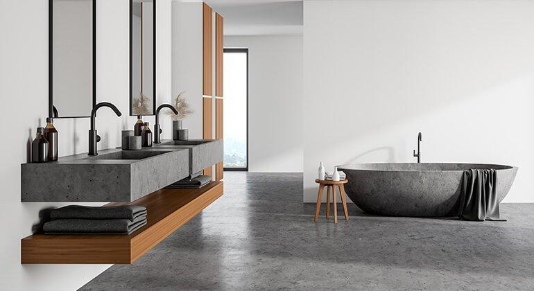 Béton décoration: lavabo, sol et baignoire en beton